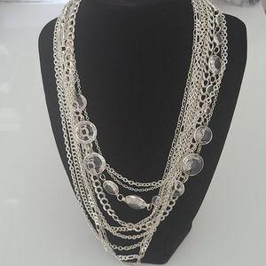 Silver and crystal multi-strand necklace& bracelet
